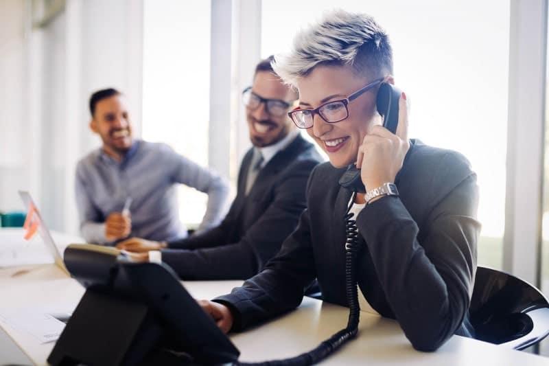 Conferencing calls woman