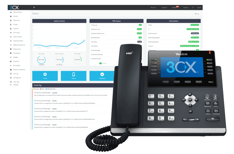 3cx phone set and screen